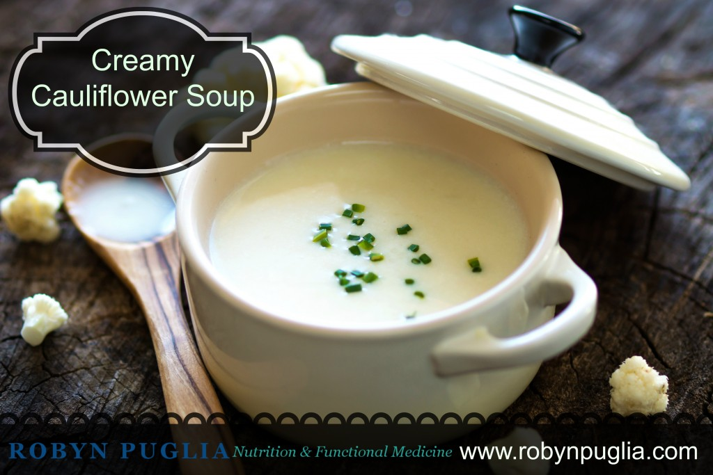 Paleo, GF, DF, creamy cauliflower soup. Pure comfort food.