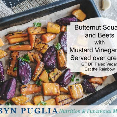 Butternut Squash & Beets over Greens with Mustard Vinaigrette